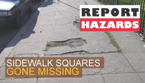 ad for hazard report showing damaged sidewalk