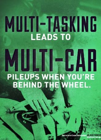 distracted driving campaign - multi-tasking leads to multi-car pileups when you're behind the wheel