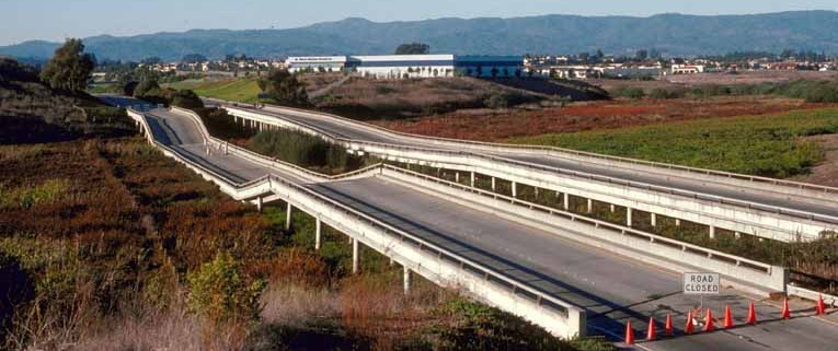Highway 1 at Watsonville Slough destroyed in the 1989 earthquake.