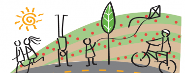 Graphic for Open Streets Watsonville with joggers, person doing handstand, person flying kite and person rideing bicycle with a sun a strawberry fields in the background and a street in the foreground