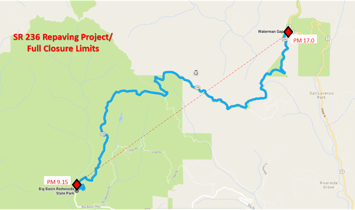 Hwy 236 Repaving project and full closure limits - map pm 9.15 - pm 17.0
