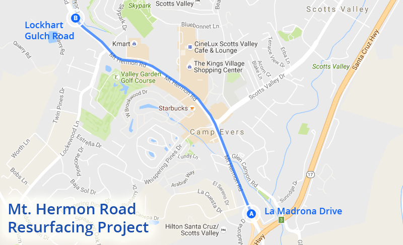 Mt. Hermon Road Resurfacing Project - The City will be resurfacing Mt. Hermon Road, from La Madrona Drive to Lockhart Gulch Road the weekends of October 8-9 and October 15-16, 2016. Traffic delays are anticipated from 7:00 am - 7:00 pm for both east and west bound traffic. During this time, all cross streets, shopping centers and businesses will be accessible. Some private properties will experience temporary driveway closures. It is recommended that motorists use Graham Hill Road and Hwy 9 when traveling to and from the San Lorenzo Valley during this timeframe.