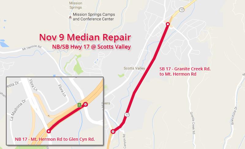 Nov 9 Median Repair in Scotts Valley
