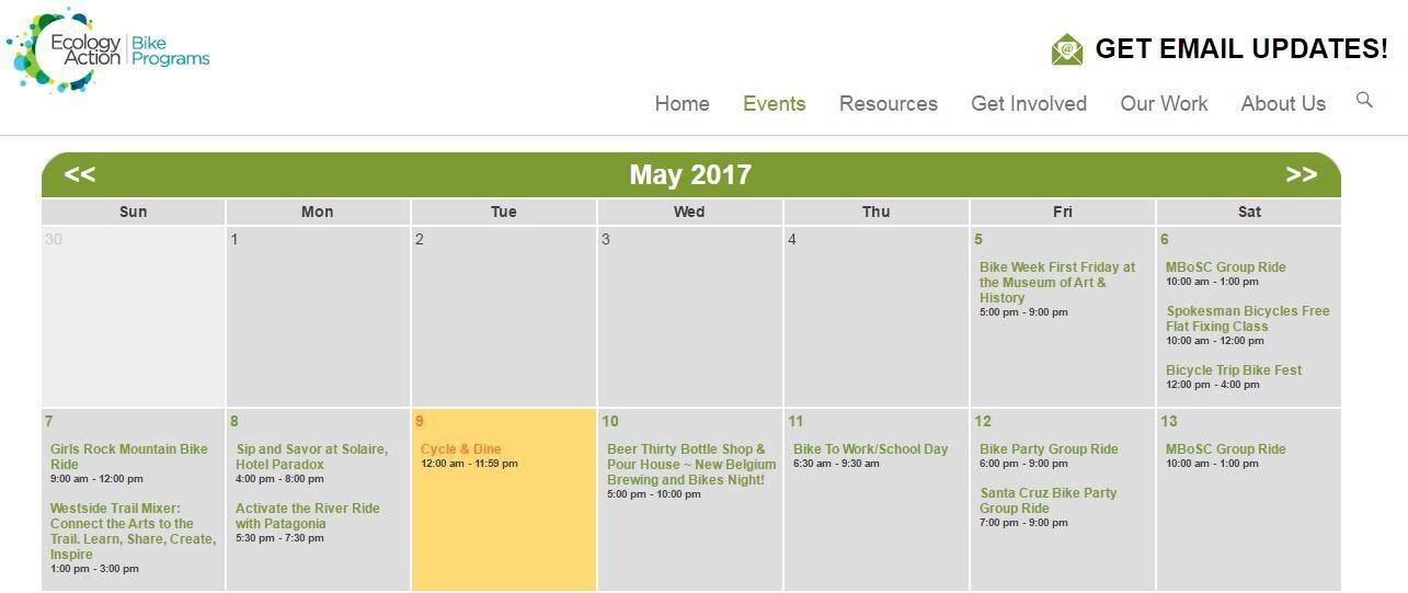 Ecology Action Bike Week calendar of events