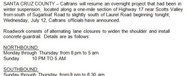 Caltrans Resumes Overnight Project on Highway 17 Tonight (7/12)