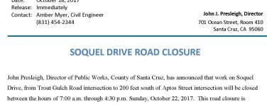 Section of Soquel Dr Closed on Sunday for Winter Storm Repairs