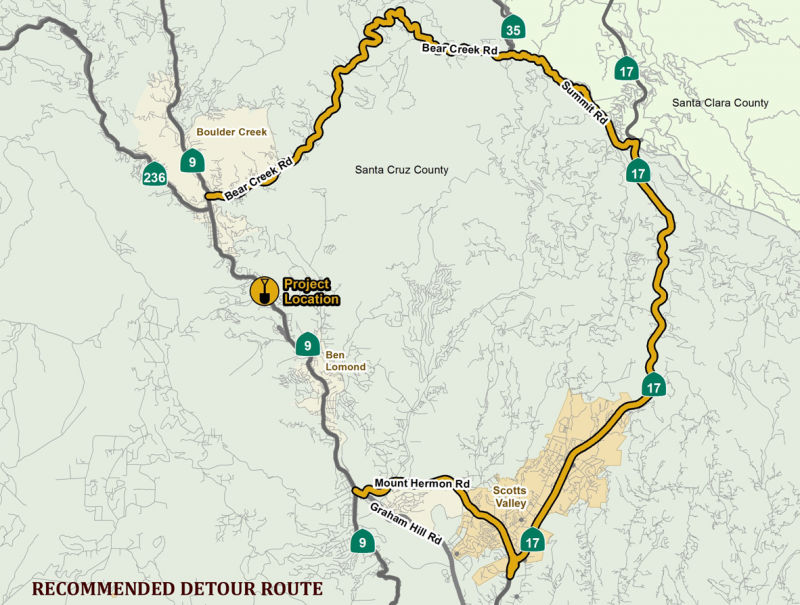 Slipout Repairs In BrookdaleHwy Ongoing Until Nov CRUZ - Caltrans traffic map