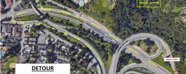 caltrans detour map for southbound fishhook connector ramp paving project